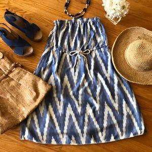 🌺 GAP Blue & White Zigzag Design Summer Dress S!!